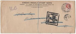 1899-EWENS-WEEKLY-STAMP-NEWS-ADVERTISING-ENV-BOURNEMOUTH-PMK-1-2d-POSTAGE-DUE