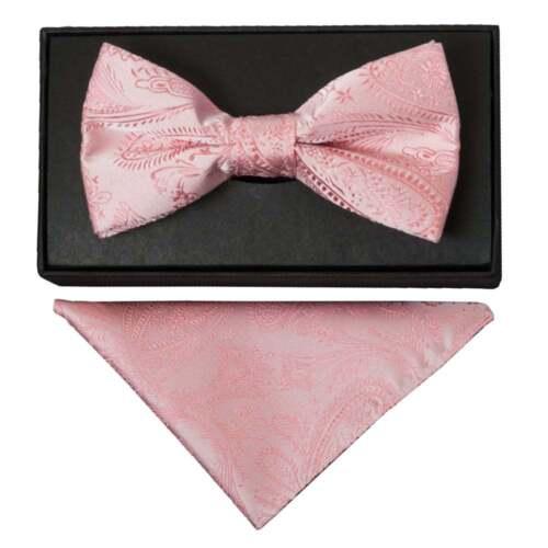 Light Pink Paisley Handmade Mens Bow Tie and Handkerchief Set Dickie Bow Hanky