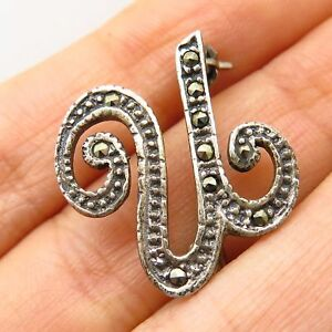 Vintage 925 Sterling Silver Real Marcasite Gemstone Letter U Initial Pin Brooch With A Long Standing Reputation Diamonds & Gemstones Fine Jewelry