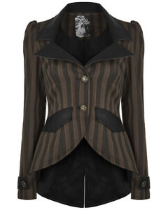 Rave Womens Black Tailcoat Brown Victorian Punk Zu Stripe Steampunk Gothic Jacket Details qSVzMpU