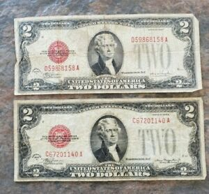 Lot of TWO 1928 2 dollar bills red seal D and F US NOTE