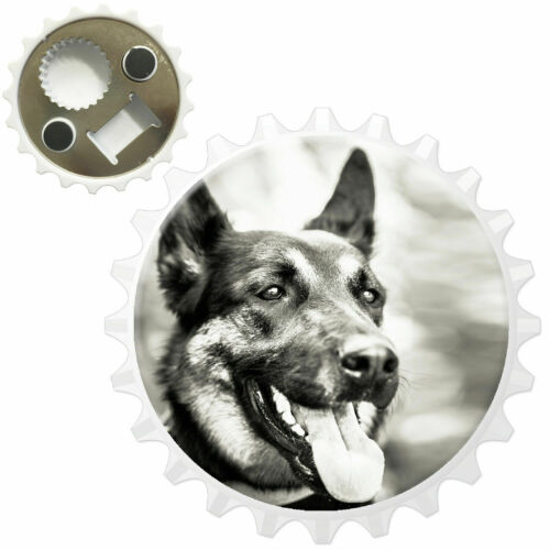 Black /& White German Shepherd Dog Bottle Opener Fridge Magnet
