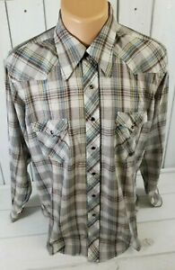 WRANGLER-Mens-Vintage-Long-Tails-LS-Pearl-Snap-Western-White-Tag-16-1-2-34-L