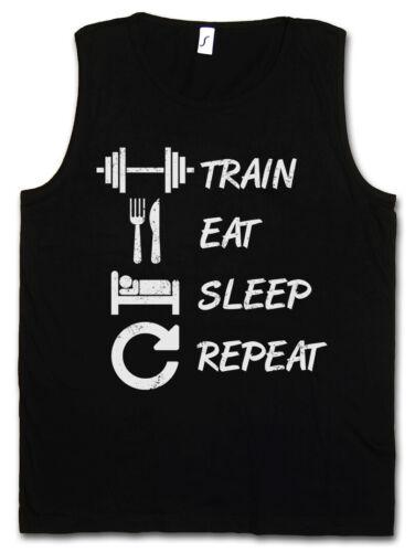 Train volonté Sleep Repeat hommes Tank top pain no gain Fun Muscle Fitness Musculation