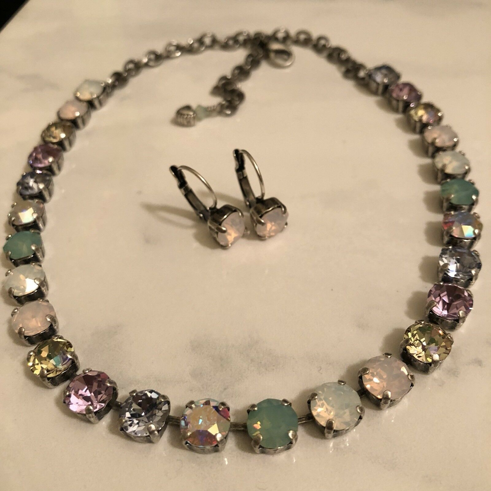 Made w Swarovski 8mm crystals With Pastel colors And Opal Crystal Great colors