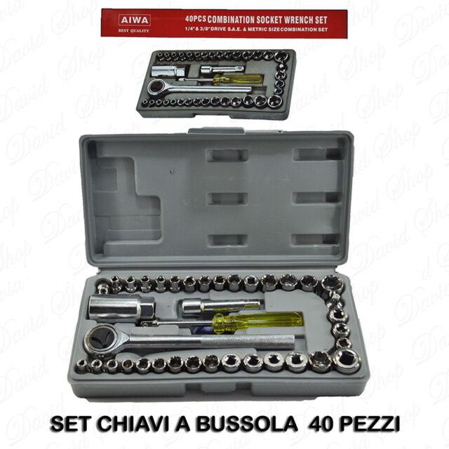 KIT Set di Chiavi a Bussola 40 Pezzi Con Cricchetto giravite Valigetta attrezzi
