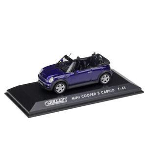 New-WELLY-Miniature-1-43-Scale-Blue-Mini-Cooper-S-Cabrio-Diecast-Model-Cars-Toys