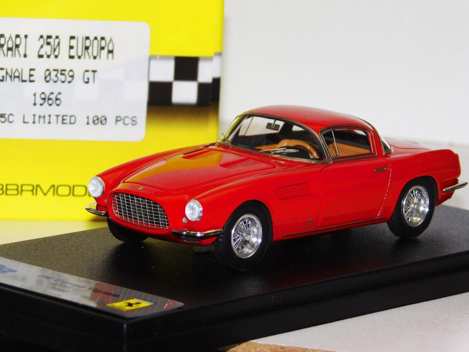 100% a estrenar con calidad original. Ferrari 250 Europa Europa Europa Vignale 0359 GT 1966 BBR BBR105C Lim. 100 piezas 1 43  gran venta