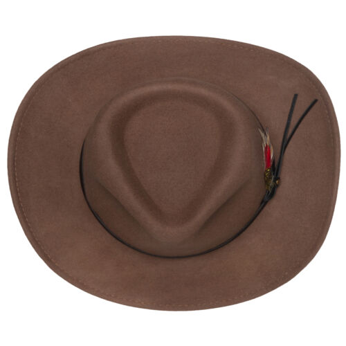 Mens Outback Wool Cowboy Hat Montana Pecan Brown Crushable Western Felt Silver C