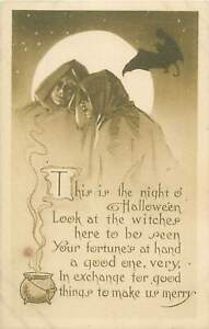 Holidays-topical-vintage-postcard-Halloween-Witches-bat-moon-U-S-Postage