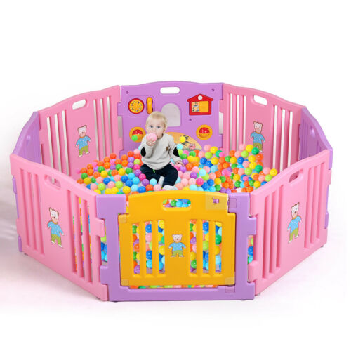 Baby Girl Playpen Kids 8 Panel Safety Play Center Yard Home Indoor Outdoor Pink