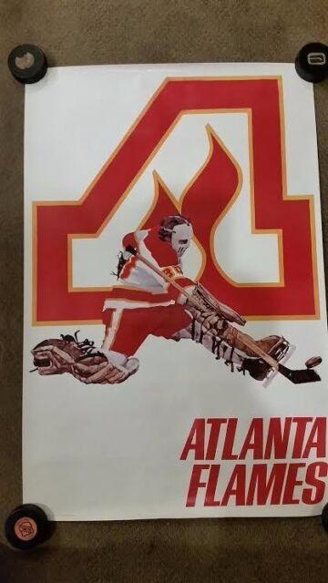 Vintage NHL Poster Atlanta Flames 24 x 36 1970's