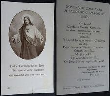 ESTAMPA HOLY CARD SAGRADO CORAZON DE JESUS  AÑO 1923 . VER MI TIENDA EBAY CC1713