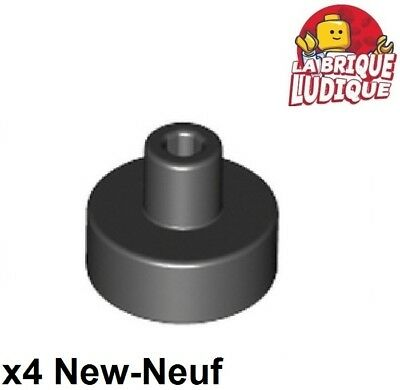 LEGO New Lot of 4 Black 1x1 Round Tiles Pin and Bar Minifigure Air Hockey Piece