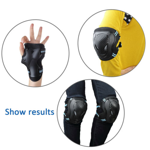 6Pcs Roller Skating Skateboard Knee Elbow Wrist Protective Guard Pads Gear S//M//L