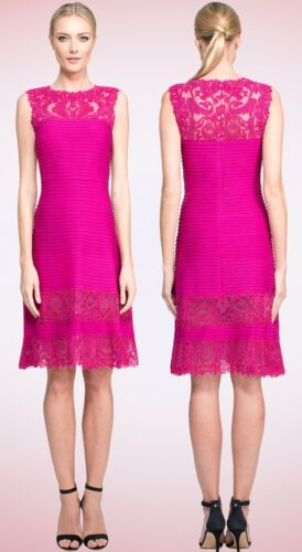 $388 Tadashi Shoji Illusion Corded Embroidered Lace Pintuck Jersey Rosette Dress