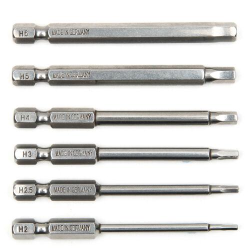 "6x Magnetic  75mm Long 1//4/"" Hex Shank H2-H6 Hexagon Screwdriver Drill Bits Set"