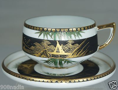 VINTAGE EGG SHELL WHITE,BLACK,GOLD TEA CUP SAUCER HAND PAINTED SCENIC MODERNIST