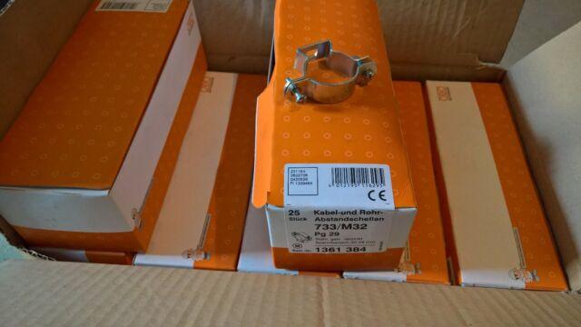 25 St. Kabel und Rohr Abstand Schellen M32 733 Pg 29, galv.verz. 30 - 38 mm OBO