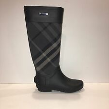 Burberry Women's Clemence Mixed Media Charcoal Rain Boot Size 35