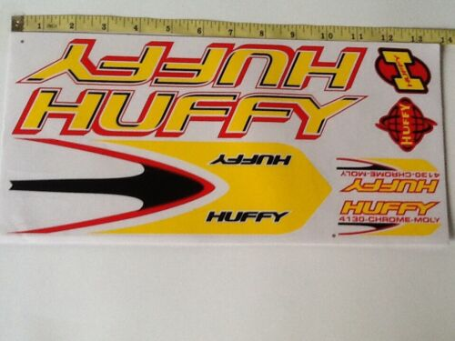 Black /& Red Huffy 4130 Stickers  Yellow Die cut.