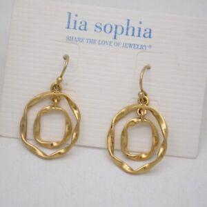 Lia-sophia-jewelry-matte-gold-plated-double-waved-circle-fishhook-drop-earrings