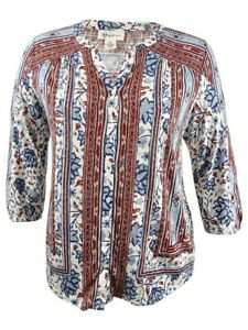 Style-amp-Co-Women-039-s-Plus-Size-Mixed-Print-Peasant-Top