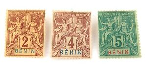 BENIN-FRENCH-AFRICAN-COLONY-c1894-3-MH-NICE-GRADE-STAMPS