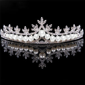 Rhinestone-Tiara-Hair-Band-Bridal-Pearl-Princess-Prom-Crown-Headband-Wedding