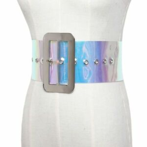 Details about Women Belt S 1 Wide Stretch Elastic Cinch Metal Buckle Fashion Leather Waistband