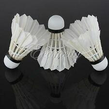 3pcs Training White Goose Feather Shuttlecocks Birdies Badminton Ball Game Sport
