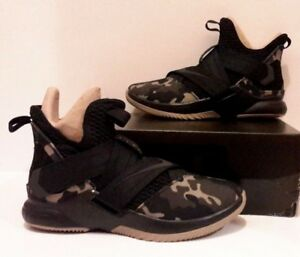 5c0f4327b2a NEW Sz 7 Nike Lebron Solder XII SFG Camo Basketball AO4054-001 Black ...