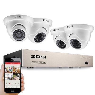 ZOSI HD 720P Video Überwachungset 8CH HDMI DVR 4 Außen Weiß Dome Kamera System