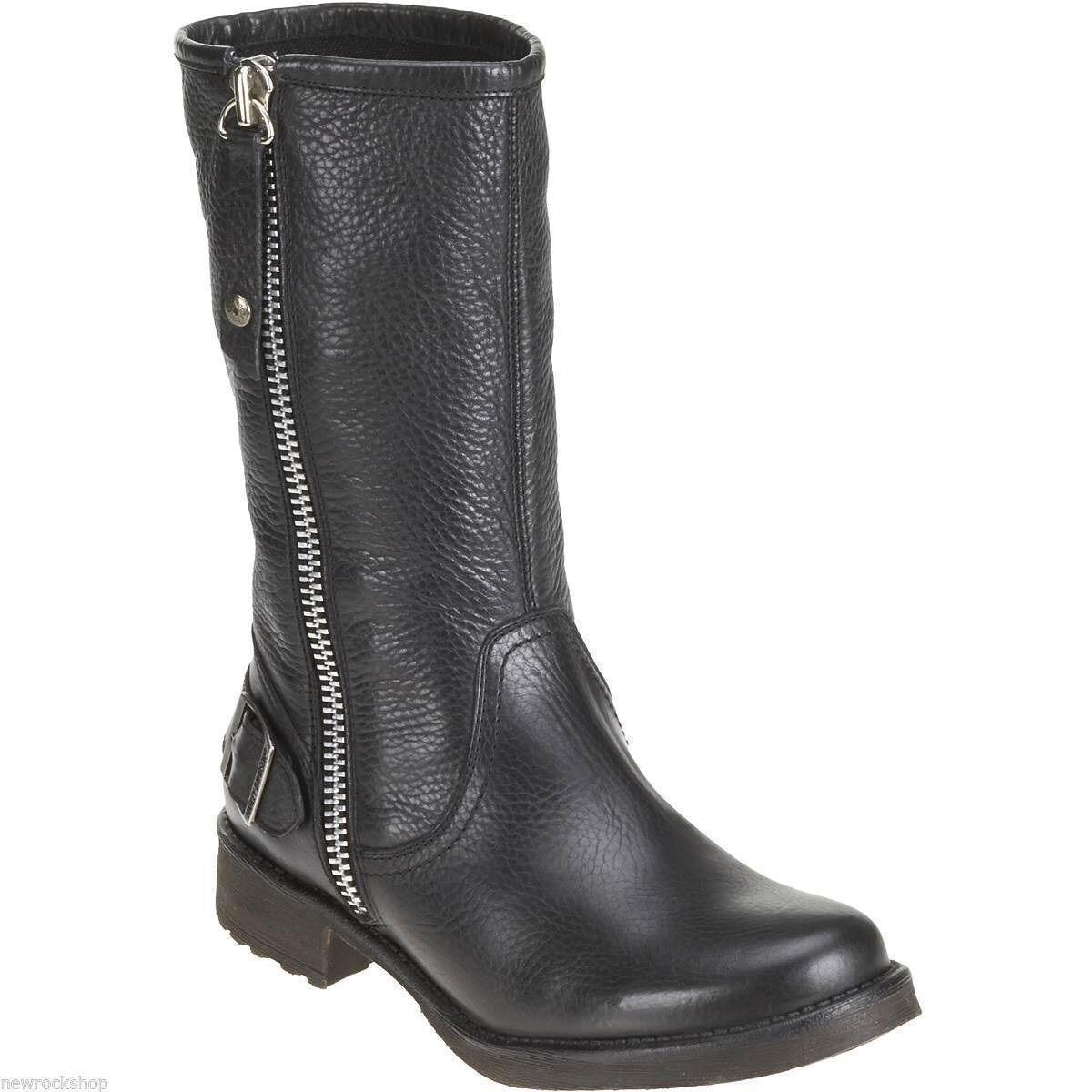 Mina damer träs Harley David Babisley, svart läder -zip -zip -zip på mitten av Calif Picker stövlar.  grossistaffär