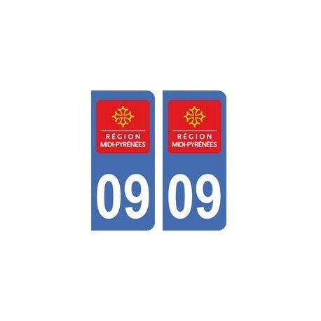 09 Ariège autocollant plaque -  Angles : arrondis
