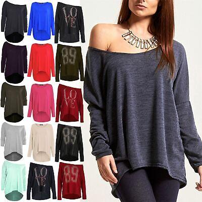 Ladies Bardot Sweater Top Womens Love Dipped Hem Off the Shoulder 89 Stud Jumper