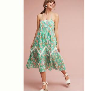 Anthropologie Maeve San Sebastian Dress Grün Floral Pleated Lace Größe Petite M