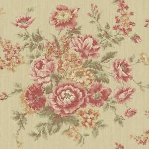Wallpaper-Designer-Red-Rust-Pink-Green-Rose-Floral-Faux-Tapestry-on-Tan-Faux