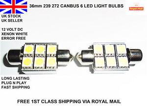 2x-36mm-LED-COCHE-CANBUS-Festoon-Xenon-Blanco-Brillante-Luz-Interior-12v-Bombillas-Lamparas