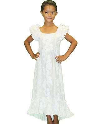 Girl's White Long Ruffled MuuMuu/100% cotton/Made in Hawaii