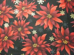 Red-Poinsettias-Tossed-on-Black-B-G-By-Robert-Kaufman-BTY-Christmas-Poinsettias