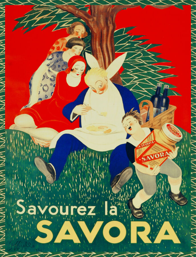 Quality POSTER.Cappiello Savora family picnic.Home Room Decor art print.q738