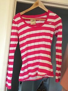 Hollister-Pink-And-White-Stripped-Long-Sleeved-Top-Size-Medium-Worn-Once