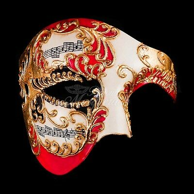 Phantom of the Opera Musical Venetian Masquerade Mask for Men - Red/Gold