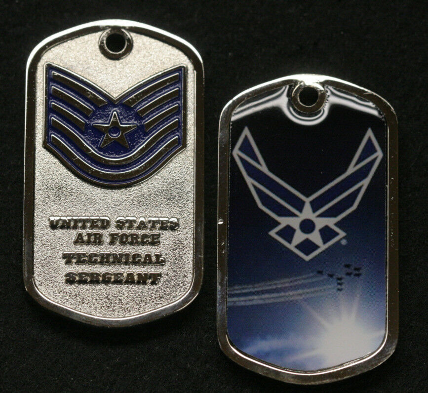 TECHNICAL SERGEANT E6 CHALLENGE COIN DOG TAG KEYCHAIN PIN UP