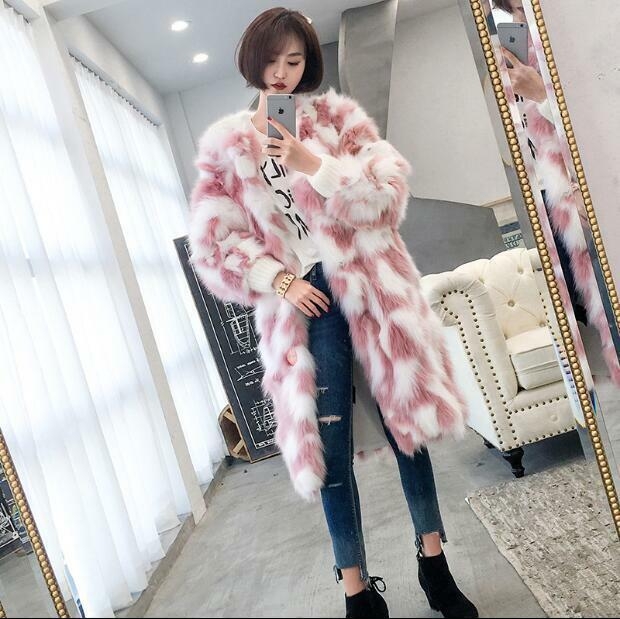 Korea Style Womens Golilla Warm Fur Furry Long Coats Winter Faux Fur Park T160