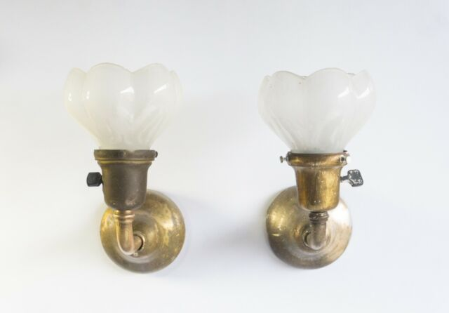 Tiffany Studios Pair Early Sconces w/ Frosted Glass Shades (NY ca.1905)