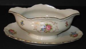 Vtg-EPIAG-GRAVY-SAUCE-BOAT-w-underplate-floral-Czechoslovakia-Deutschland-gold