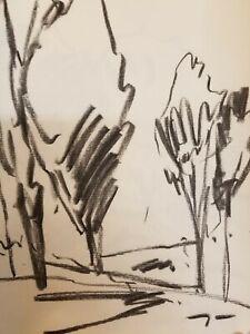 "JOSE TRUJILLO - Modernist Original Charcoal Paper Sketch Drawing 12"" ARTS"