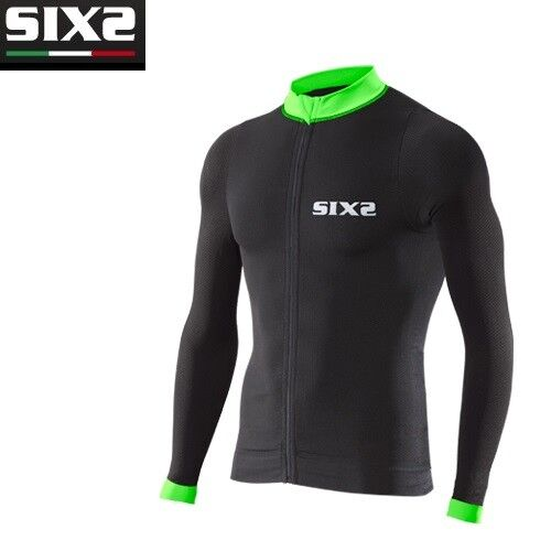 T-Shirt Fahrrad Jersey lange Ärmel Ärmel Ärmel Fahrrad SIXS schwarz grün BIKE4 Streifen 7bf813